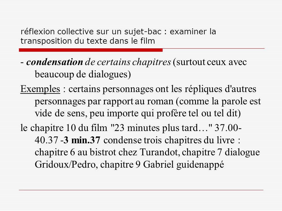 réflexion collective sur un sujet-bac : examiner la transposition du texte dans le film - condensation de certains chapitres (surtout ceux avec beauco