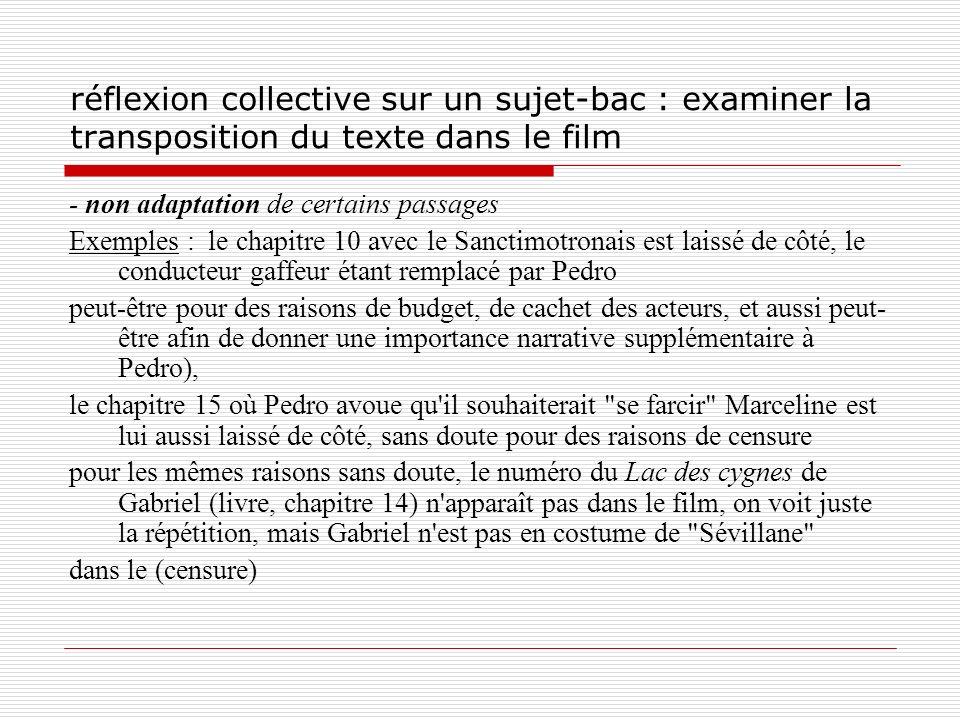 réflexion collective sur un sujet-bac : examiner la transposition du texte dans le film - non adaptation de certains passages Exemples : le chapitre 1