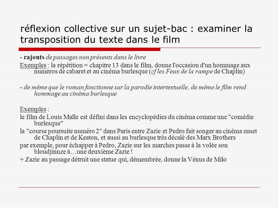 réflexion collective sur un sujet-bac : examiner la transposition du texte dans le film - rajouts de passages non présents dans le livre Exemples : la
