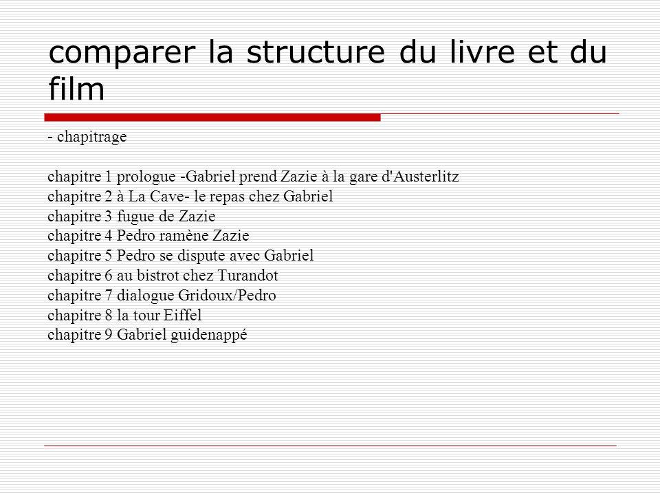 comparer la structure du livre et du film - chapitrage chapitre 1 prologue -Gabriel prend Zazie à la gare d'Austerlitz chapitre 2 à La Cave- le repas