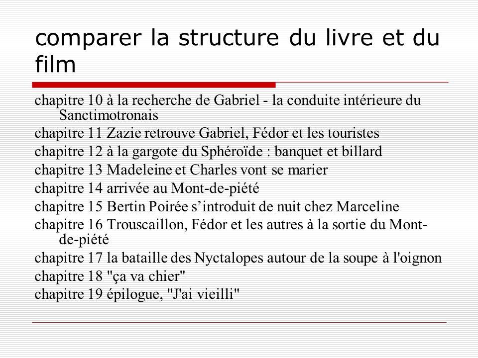 comparer la structure du livre et du film chapitre 10 à la recherche de Gabriel - la conduite intérieure du Sanctimotronais chapitre 11 Zazie retrouve