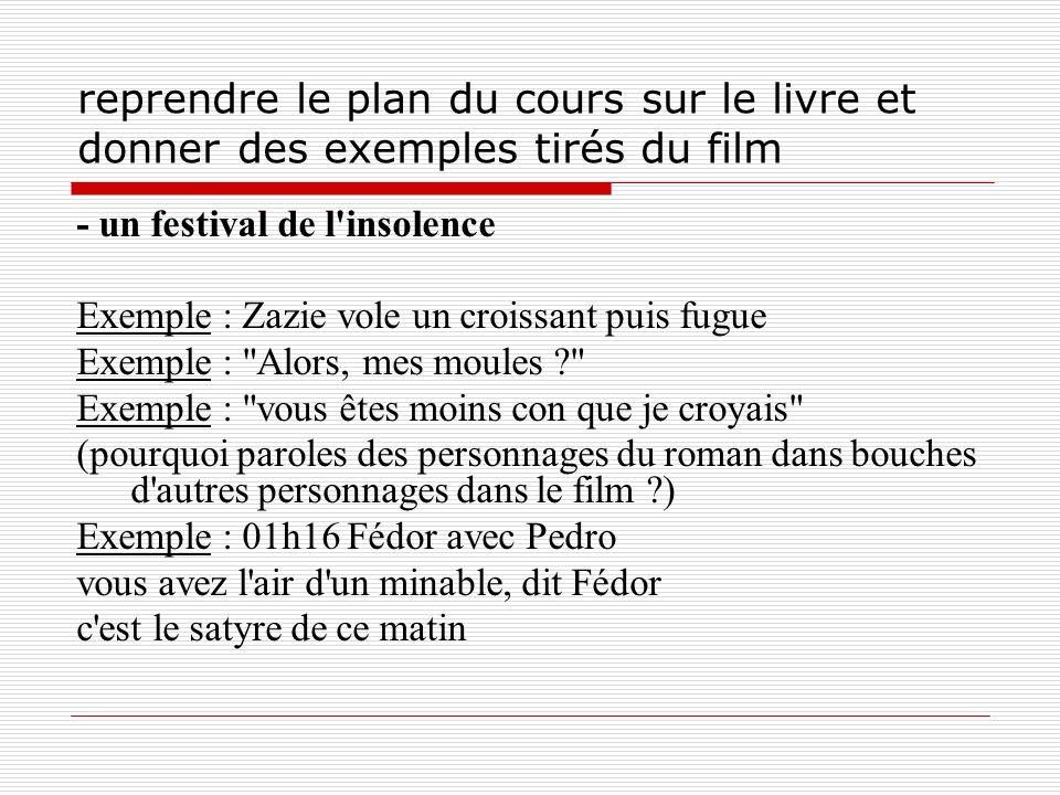 reprendre le plan du cours sur le livre et donner des exemples tirés du film - un festival de l'insolence Exemple : Zazie vole un croissant puis fugue