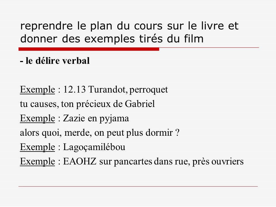 reprendre le plan du cours sur le livre et donner des exemples tirés du film - le délire verbal Exemple : 12.13 Turandot, perroquet tu causes, ton pré