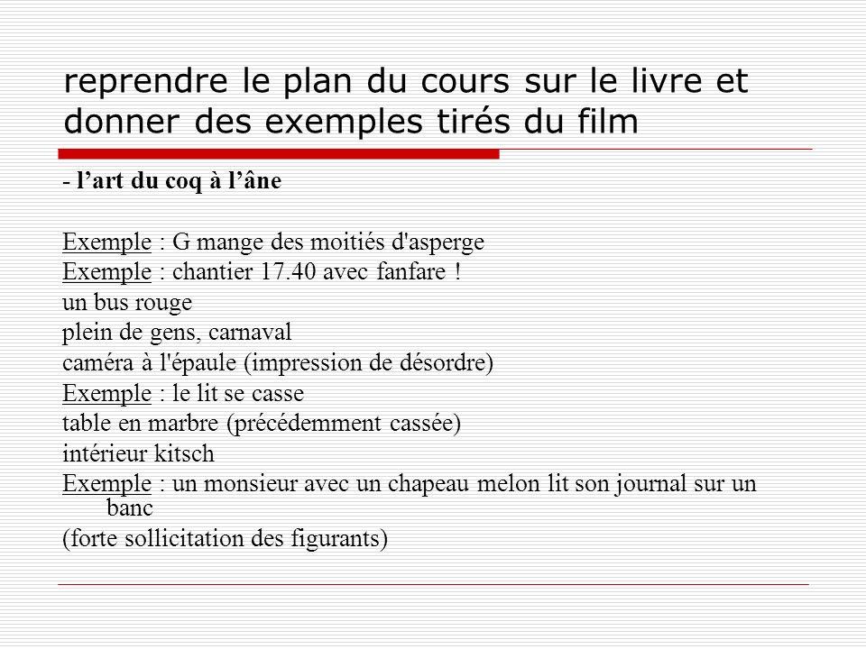 reprendre le plan du cours sur le livre et donner des exemples tirés du film - lart du coq à lâne Exemple : G mange des moitiés d'asperge Exemple : ch