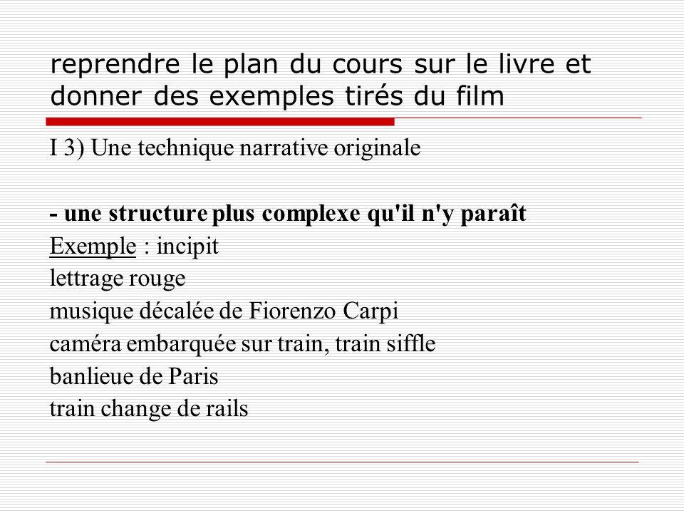 reprendre le plan du cours sur le livre et donner des exemples tirés du film I 3) Une technique narrative originale - une structure plus complexe qu'i