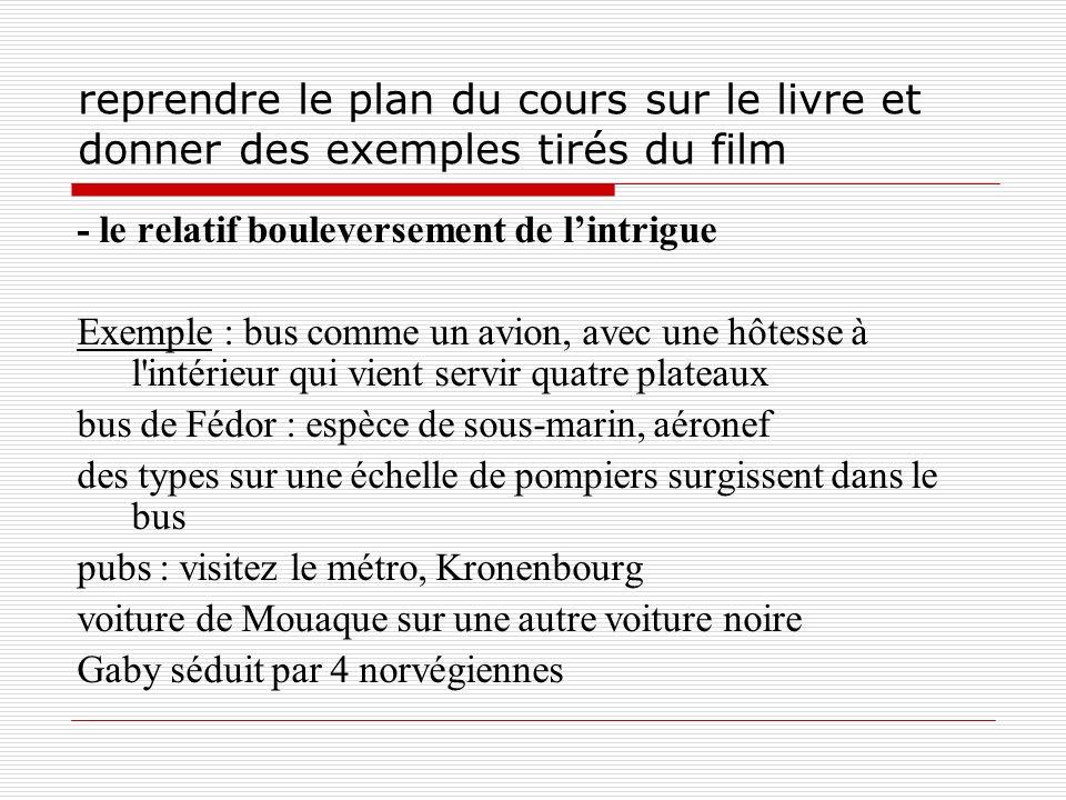 reprendre le plan du cours sur le livre et donner des exemples tirés du film - le relatif bouleversement de lintrigue Exemple : bus comme un avion, av