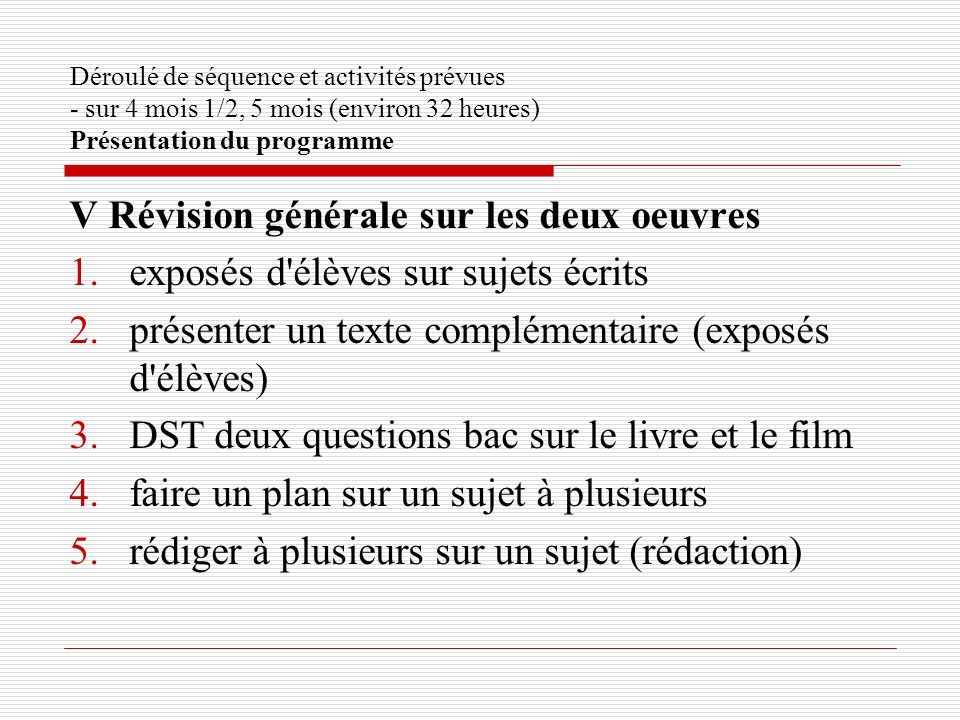 Déroulé de séquence et activités prévues - sur 4 mois 1/2, 5 mois (environ 32 heures) Présentation du programme V Révision générale sur les deux oeuvr