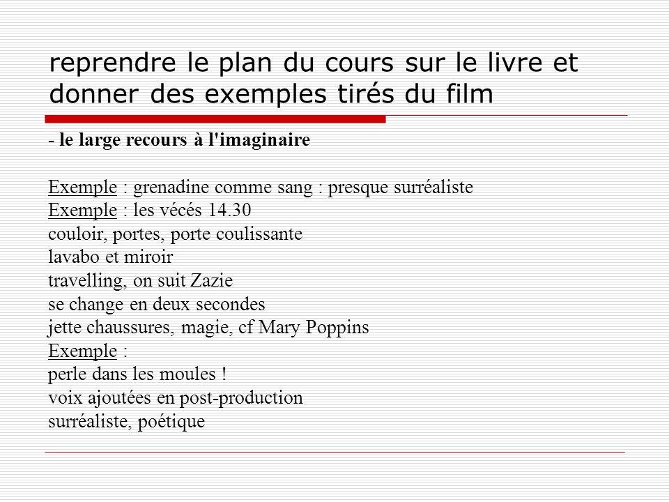 reprendre le plan du cours sur le livre et donner des exemples tirés du film - le large recours à l'imaginaire Exemple : grenadine comme sang : presqu
