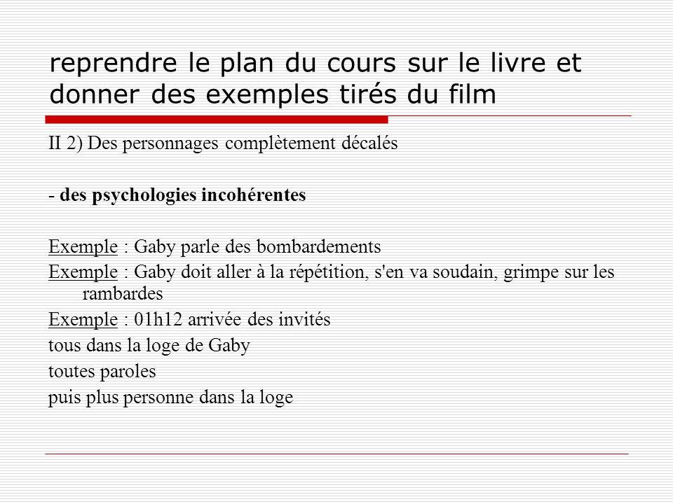 reprendre le plan du cours sur le livre et donner des exemples tirés du film II 2) Des personnages complètement décalés - des psychologies incohérente