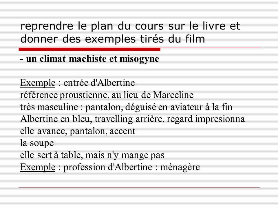 reprendre le plan du cours sur le livre et donner des exemples tirés du film - un climat machiste et misogyne Exemple : entrée d'Albertine référence p