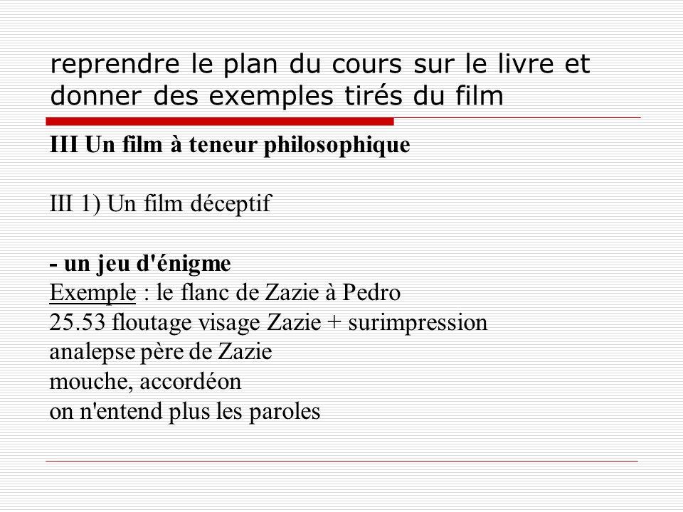 reprendre le plan du cours sur le livre et donner des exemples tirés du film III Un film à teneur philosophique III 1) Un film déceptif - un jeu d'éni