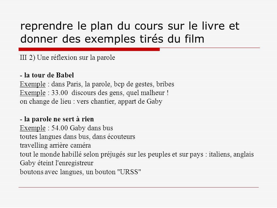 reprendre le plan du cours sur le livre et donner des exemples tirés du film III 2) Une réflexion sur la parole - la tour de Babel Exemple : dans Pari