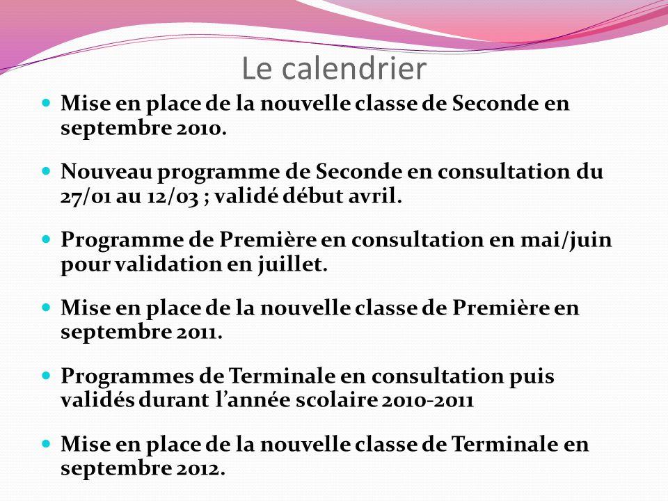 Le calendrier Mise en place de la nouvelle classe de Seconde en septembre 2010. Nouveau programme de Seconde en consultation du 27/01 au 12/03 ; valid