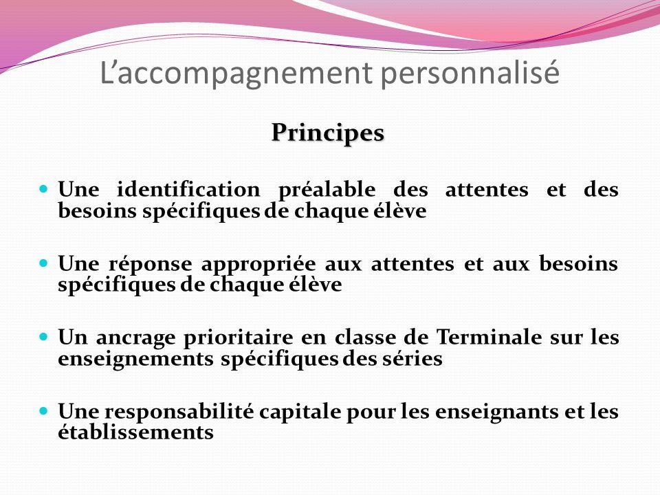 Laccompagnement personnalisé Principes Une identification préalable des attentes et des besoins spécifiques de chaque élève Une réponse appropriée aux