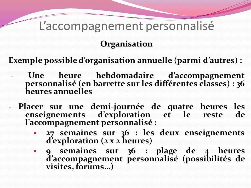 Laccompagnement personnalisé Organisation Exemple possible dorganisation annuelle (parmi dautres) : - Une heure hebdomadaire daccompagnement personnal