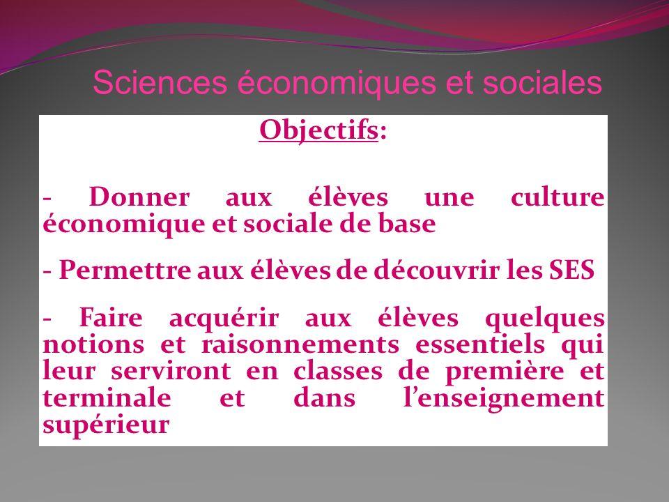 Objectifs: - Donner aux élèves une culture économique et sociale de base - Permettre aux élèves de découvrir les SES - Faire acquérir aux élèves quelq
