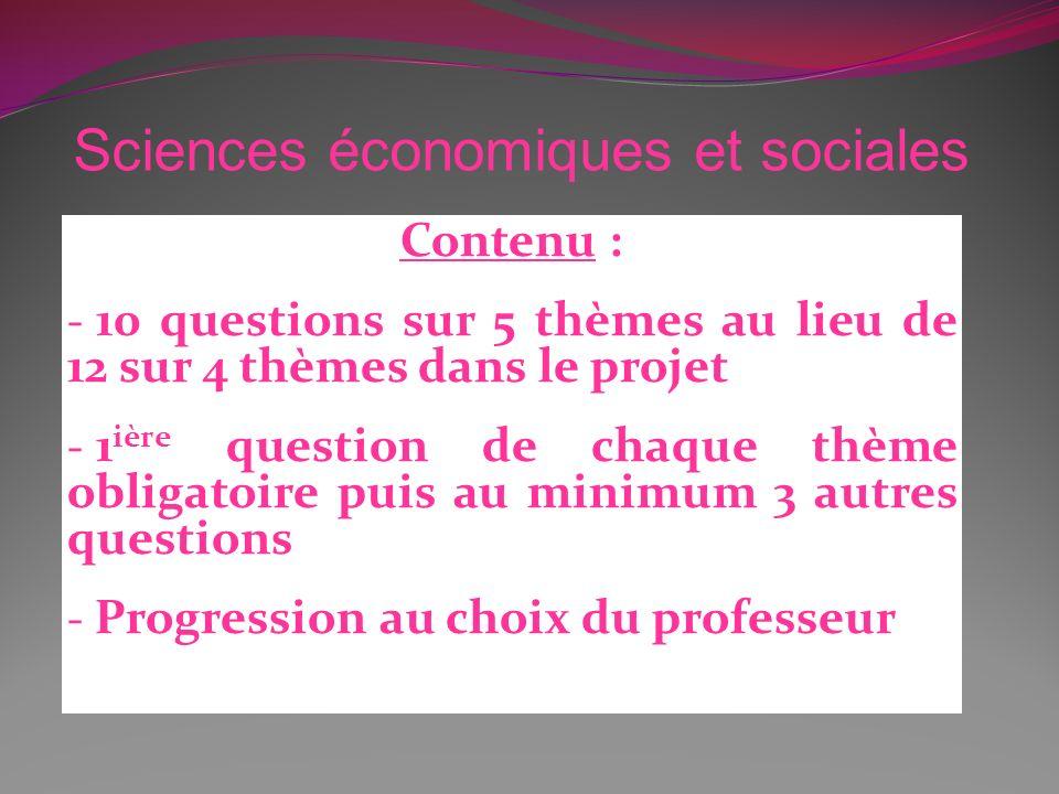 Contenu : - 10 questions sur 5 thèmes au lieu de 12 sur 4 thèmes dans le projet - 1 ière question de chaque thème obligatoire puis au minimum 3 autres