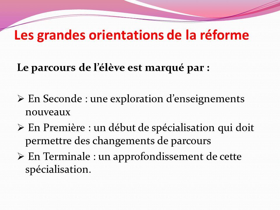 Les grandes orientations de la réforme Le parcours de lélève est marqué par : En Seconde : une exploration denseignements nouveaux En Première : un dé