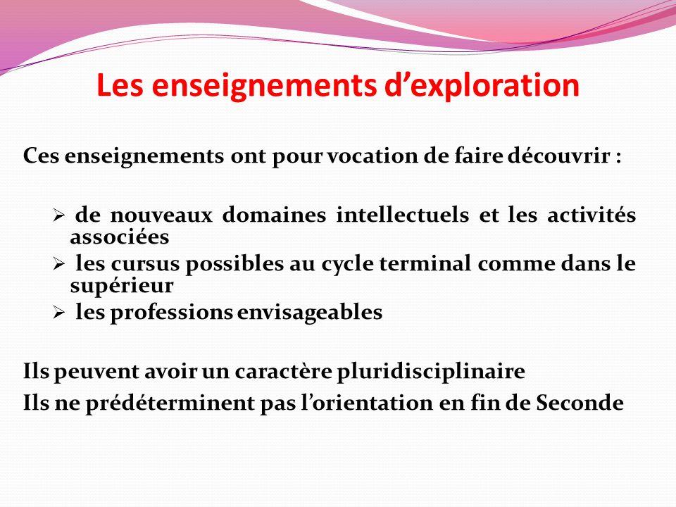 Les enseignements dexploration Ces enseignements ont pour vocation de faire découvrir : de nouveaux domaines intellectuels et les activités associées