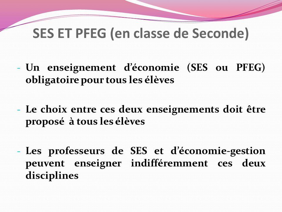 SES ET PFEG (en classe de Seconde) - Un enseignement déconomie (SES ou PFEG) obligatoire pour tous les élèves - Le choix entre ces deux enseignements