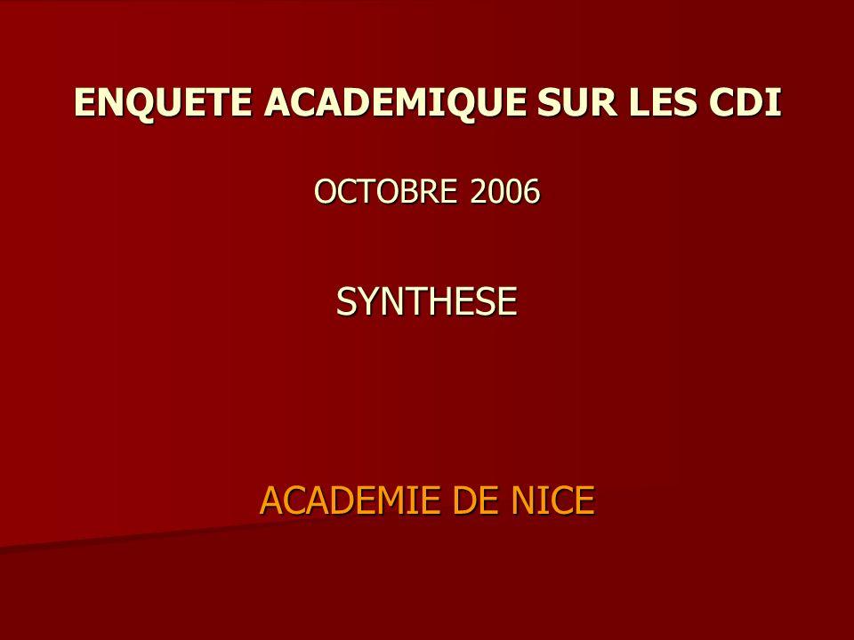 ENQUETE ACADEMIQUE SUR LES CDI OCTOBRE 2006 SYNTHESE ACADEMIE DE NICE