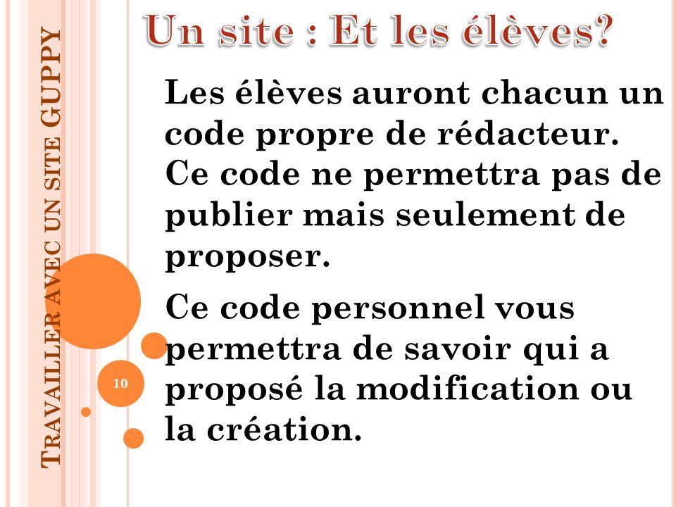 T RAVAILLER AVEC UN SITE GUPPY Les élèves auront chacun un code propre de rédacteur. Ce code ne permettra pas de publier mais seulement de proposer. C