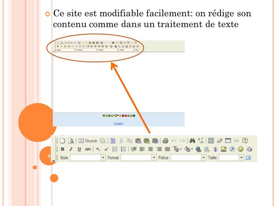 Ce site est modifiable facilement: on rédige son contenu comme dans un traitement de texte 4