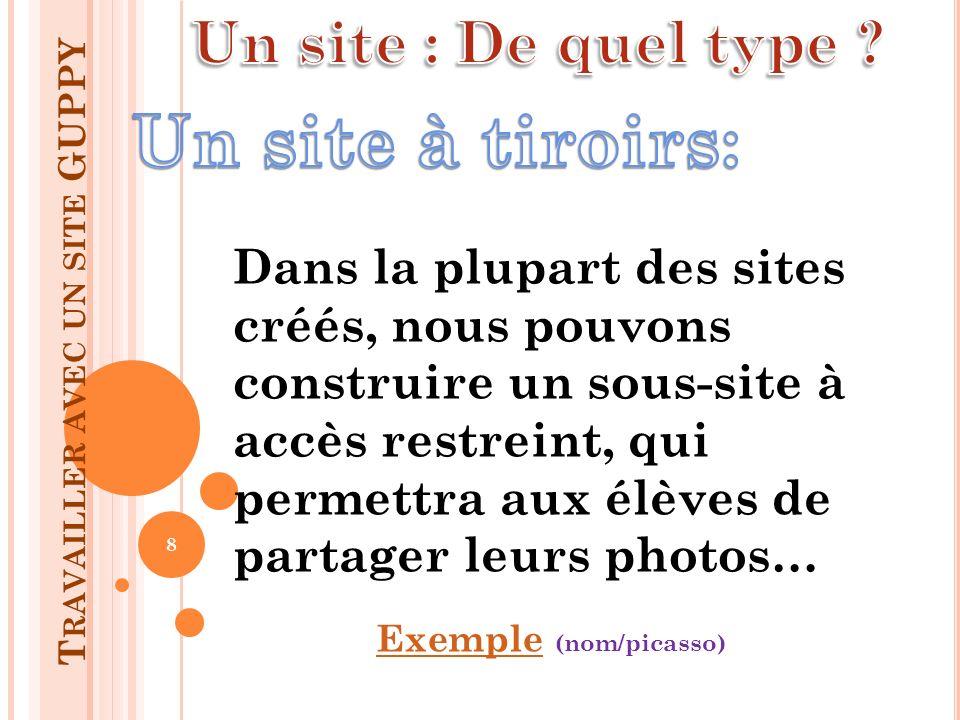 Dans la plupart des sites créés, nous pouvons construire un sous-site à accès restreint, qui permettra aux élèves de partager leurs photos… ExempleExe
