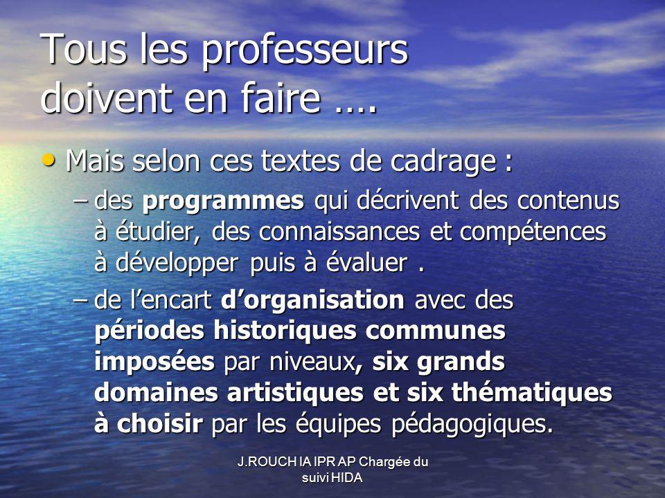 J.ROUCH IA IPR AP Chargée du suivi HIDA Tous les professeurs doivent en faire ….