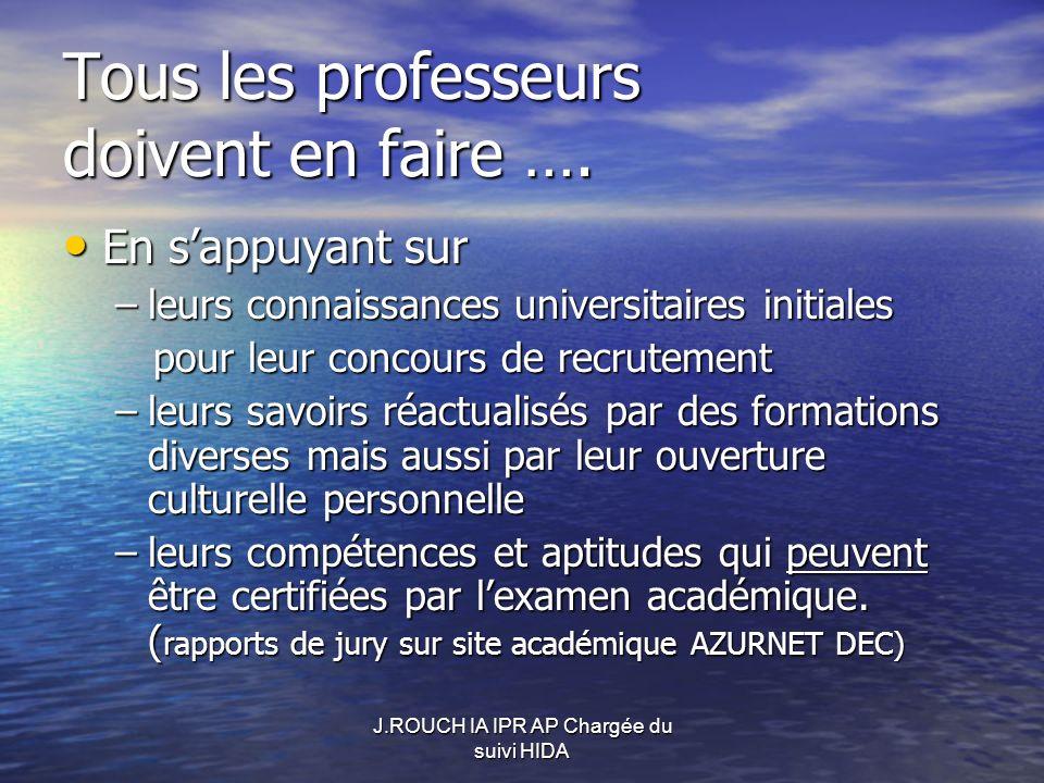 Tous les professeurs doivent en faire ….