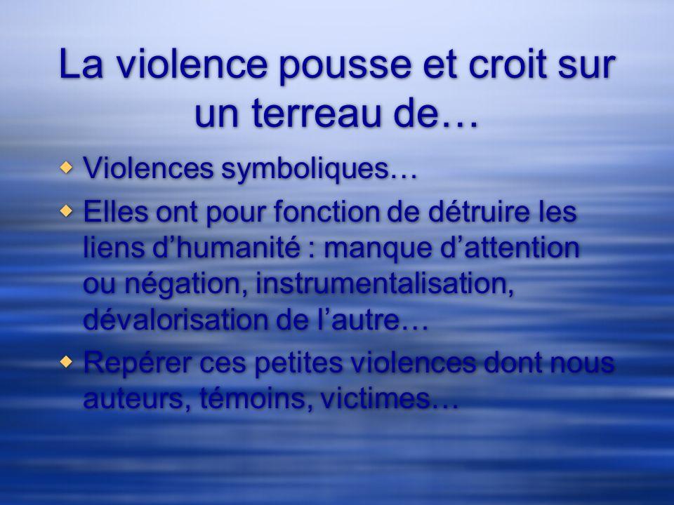 La violence pousse et croit sur un terreau de… Violences symboliques… Elles ont pour fonction de détruire les liens dhumanité : manque dattention ou n
