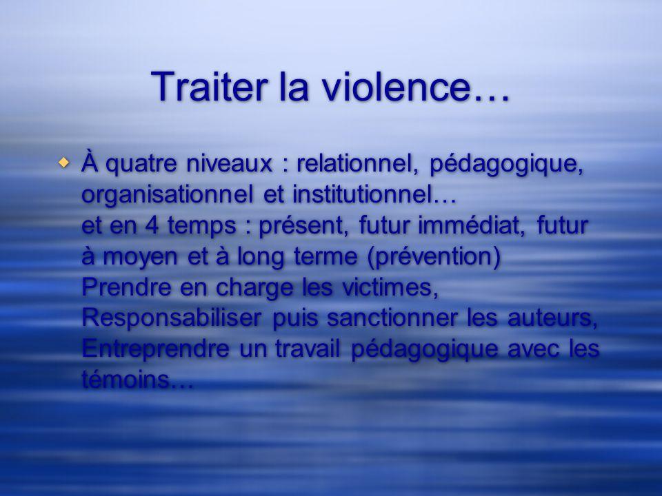 Traiter la violence… À quatre niveaux : relationnel, pédagogique, organisationnel et institutionnel… et en 4 temps : présent, futur immédiat, futur à