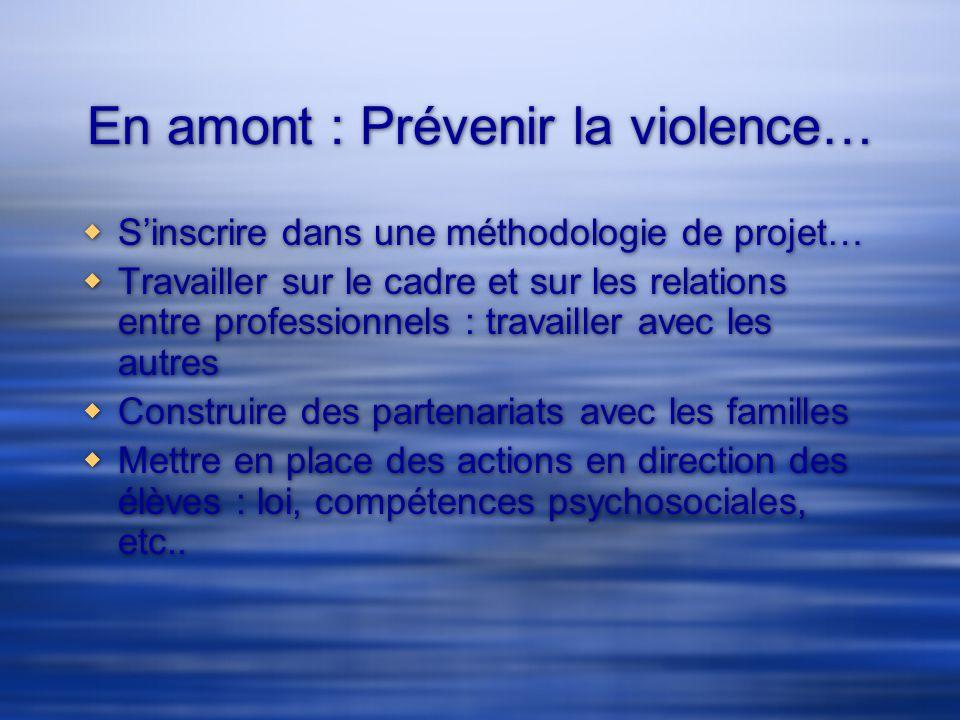 En amont : Prévenir la violence… Sinscrire dans une méthodologie de projet… Travailler sur le cadre et sur les relations entre professionnels : travai