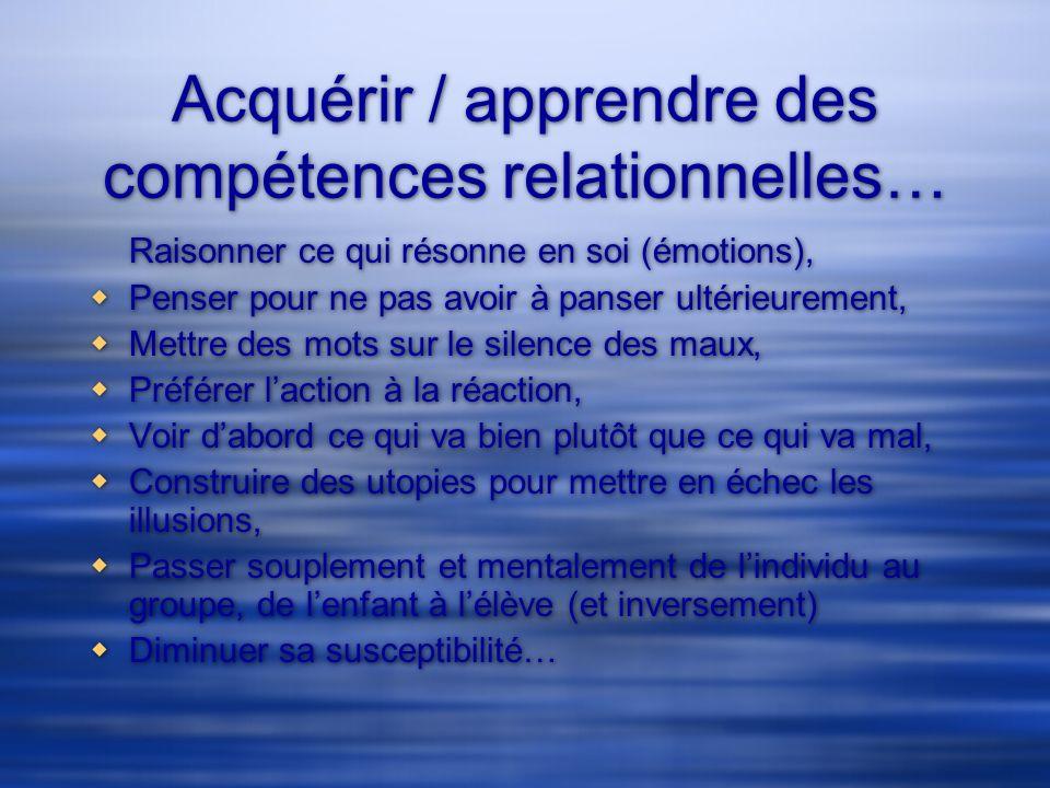 Acquérir / apprendre des compétences relationnelles… Raisonner ce qui résonne en soi (émotions), Penser pour ne pas avoir à panser ultérieurement, Met