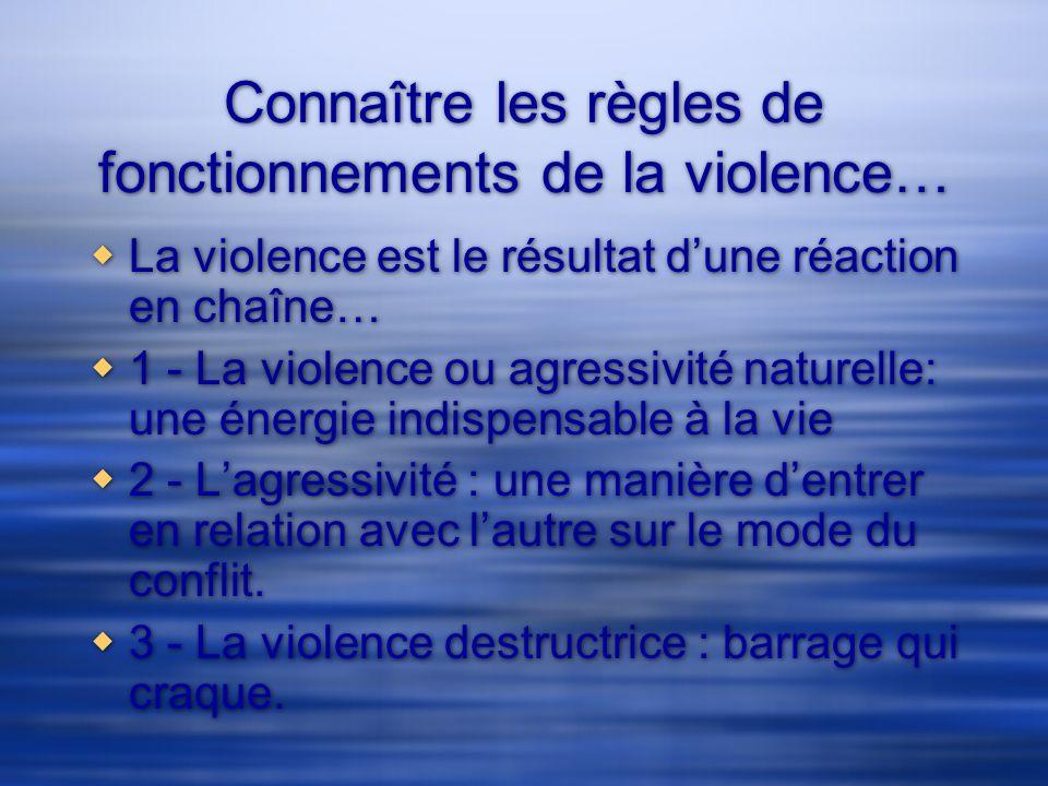 Connaître les règles de fonctionnements de la violence… La violence est le résultat dune réaction en chaîne… 1 - La violence ou agressivité naturelle: