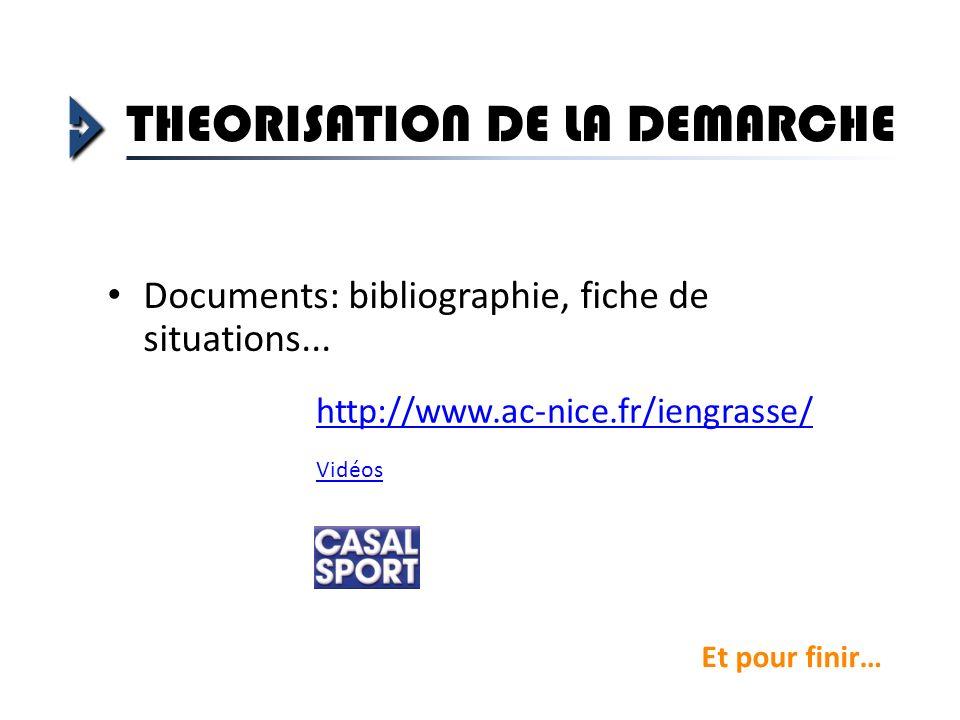 Documents: bibliographie, fiche de situations... http://www.ac-nice.fr/iengrasse/ THEORISATION DE LA DEMARCHE Et pour finir… Vidéos