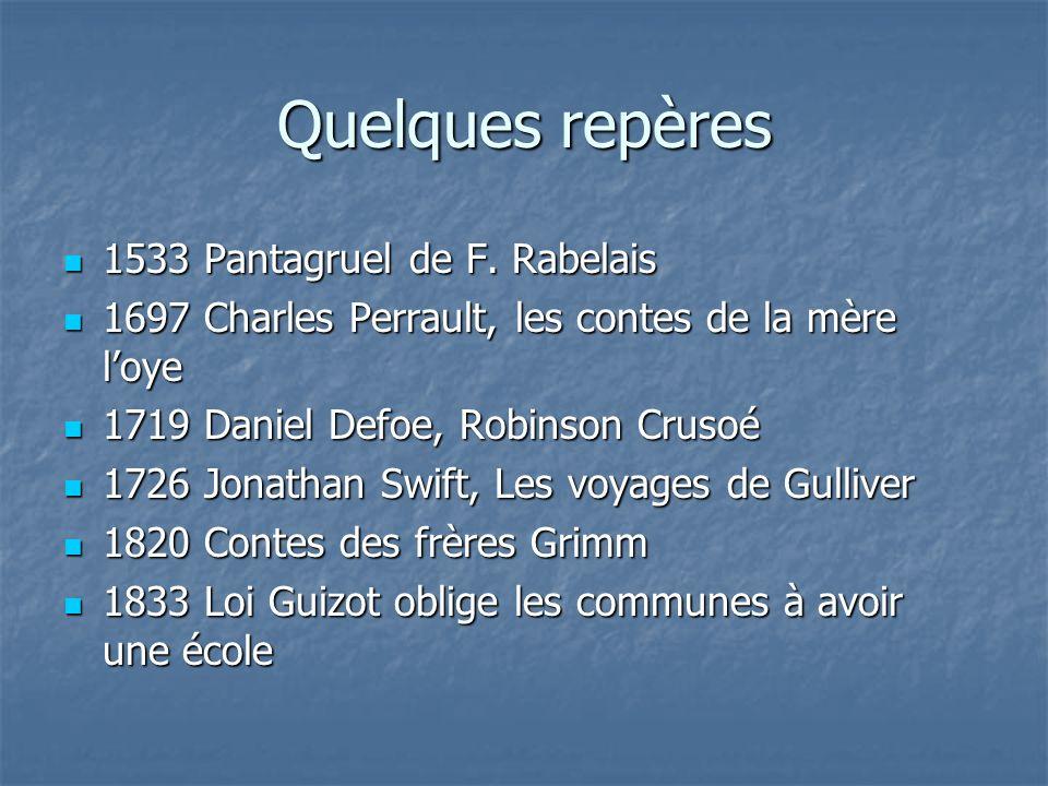 Quelques repères 1533 Pantagruel de F. Rabelais 1533 Pantagruel de F. Rabelais 1697 Charles Perrault, les contes de la mère loye 1697 Charles Perrault