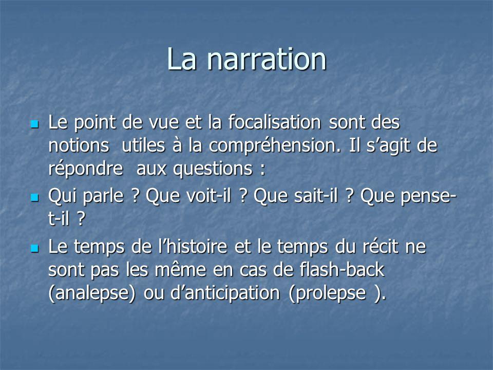La narration Le point de vue et la focalisation sont des notions utiles à la compréhension. Il sagit de répondre aux questions : Le point de vue et la