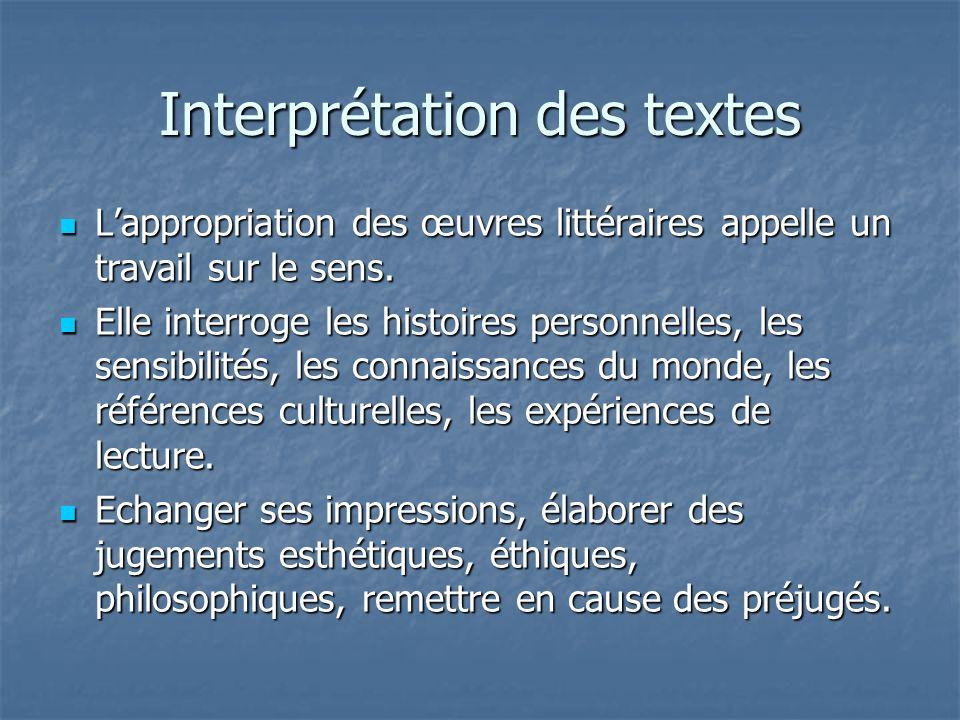 Interprétation des textes Lappropriation des œuvres littéraires appelle un travail sur le sens. Lappropriation des œuvres littéraires appelle un trava