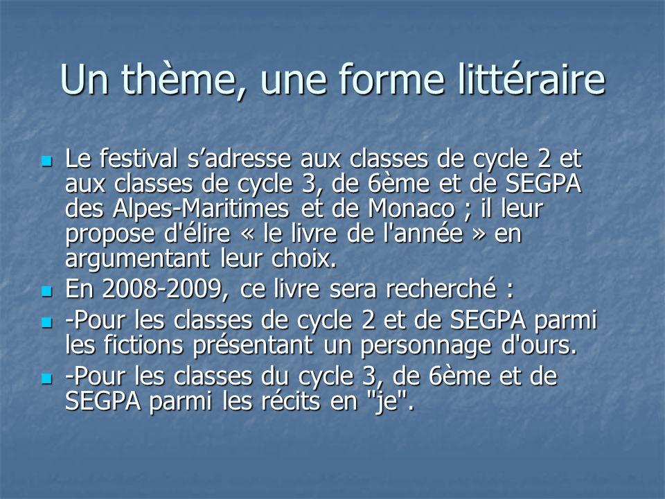 Un thème, une forme littéraire Le festival sadresse aux classes de cycle 2 et aux classes de cycle 3, de 6ème et de SEGPA des Alpes-Maritimes et de Mo