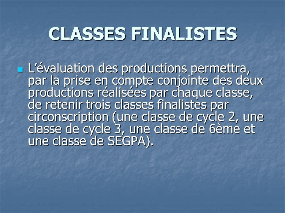 CLASSES FINALISTES Lévaluation des productions permettra, par la prise en compte conjointe des deux productions réalisées par chaque classe, de retenir trois classes finalistes par circonscription (une classe de cycle 2, une classe de cycle 3, une classe de 6ème et une classe de SEGPA).