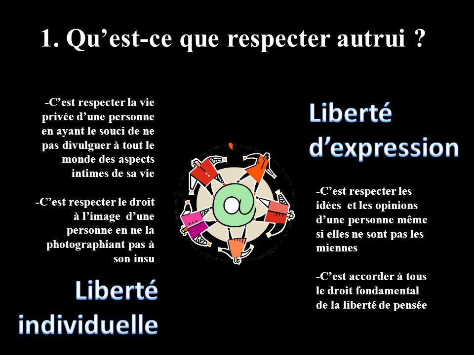 1. Quest-ce que respecter autrui ? -Cest respecter la vie privée dune personne en ayant le souci de ne pas divulguer à tout le monde des aspects intim