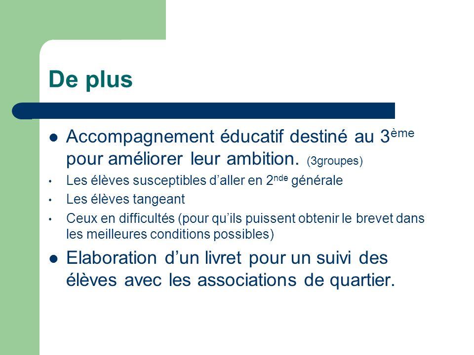 De plus Accompagnement éducatif destiné au 3 ème pour améliorer leur ambition.