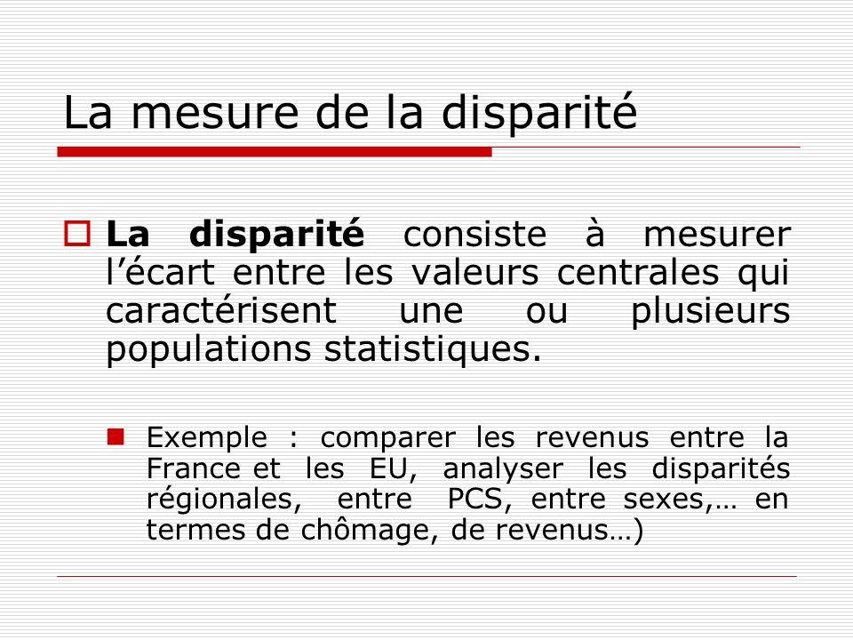 La mesure de la disparité La disparité consiste à mesurer lécart entre les valeurs centrales qui caractérisent une ou plusieurs populations statistiqu