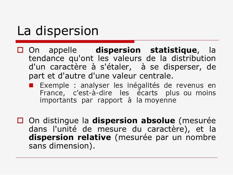 La dispersion On appelle dispersion statistique, la tendance qu'ont les valeurs de la distribution d'un caractère à s'étaler, à se disperser, de part