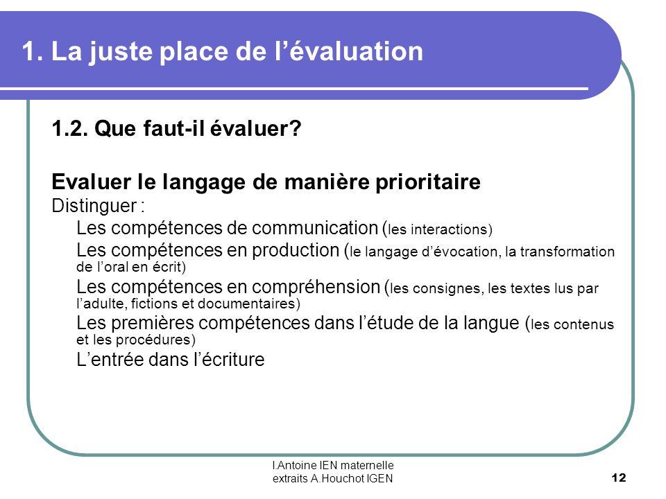 I.Antoine IEN maternelle extraits A.Houchot IGEN 12 1. La juste place de lévaluation 1.2. Que faut-il évaluer? Evaluer le langage de manière prioritai