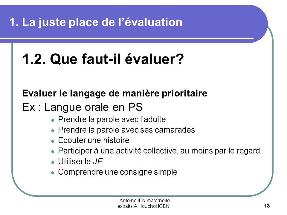 I.Antoine IEN maternelle extraits A.Houchot IGEN 13 1. La juste place de lévaluation 1.2. Que faut-il évaluer? Evaluer le langage de manière prioritai