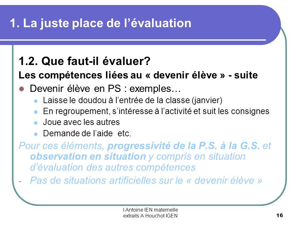 I.Antoine IEN maternelle extraits A.Houchot IGEN 16 1. La juste place de lévaluation 1.2. Que faut-il évaluer? Les compétences liées au « devenir élèv