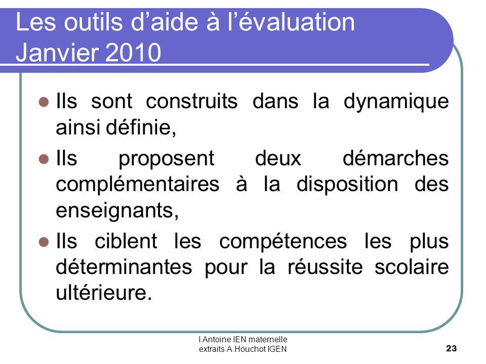 I.Antoine IEN maternelle extraits A.Houchot IGEN 23 Les outils daide à lévaluation Janvier 2010 Ils sont construits dans la dynamique ainsi définie, I