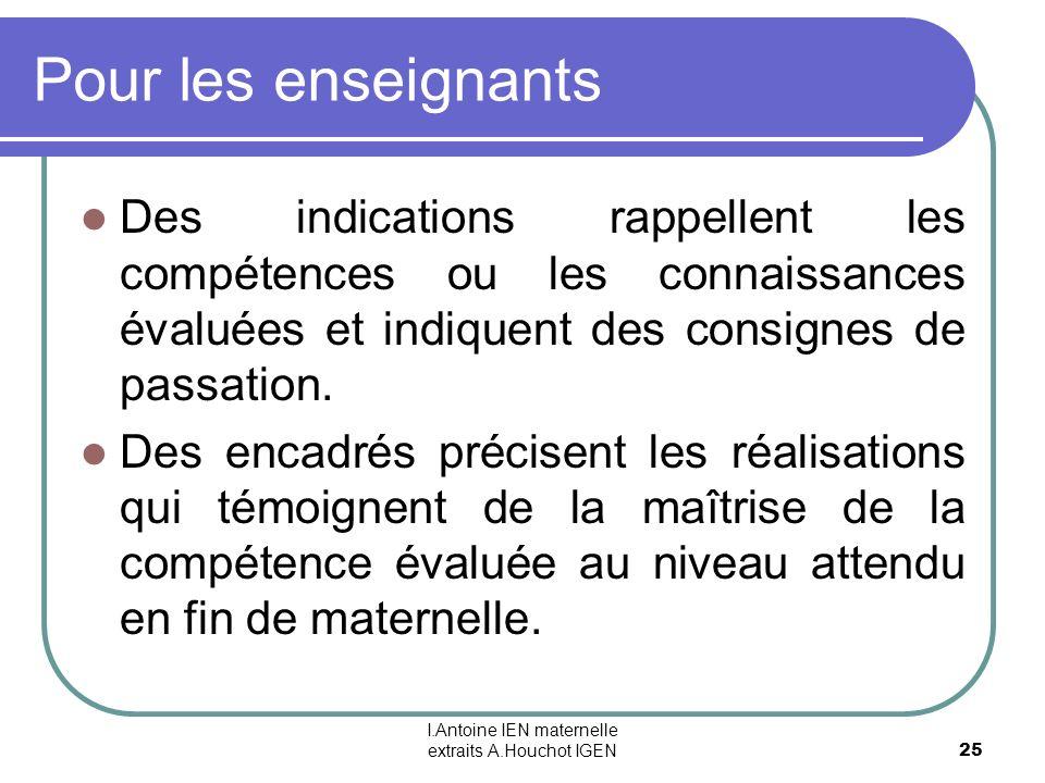 I.Antoine IEN maternelle extraits A.Houchot IGEN 25 Pour les enseignants Des indications rappellent les compétences ou les connaissances évaluées et i